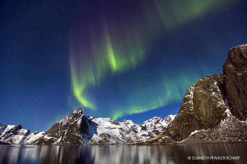 Polarlicht, Nordlicht, Norwegen, Nachtfoto, Lofoten, Aurora Borealis, Elisabeth Pfahler-Scharf
